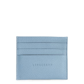 Women's Longchamp 'Le Foulonne' Pebbled Leather Card Holder - Blue