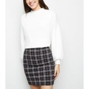 Black Check Print Mini Tube Skirt New Look