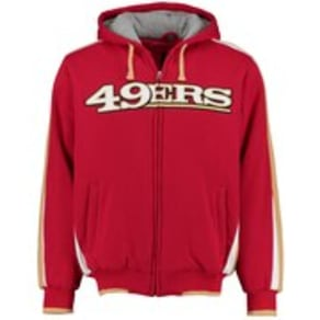 Men's G-III Sports by Carl Banks Scarlet San Francisco 49ers Color Block Full-Zip Hooded Fleece Jacket