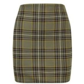 Khaki Check Tube Skirt New Look