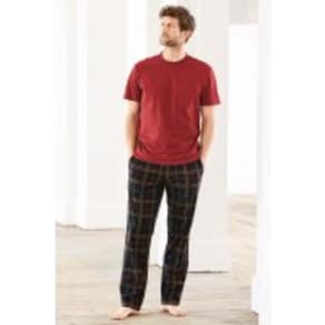 Mens Next Navy/Red Check Cosy Long Set -  Blue