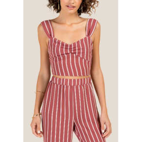 Kate Striped Crop Top - Rose