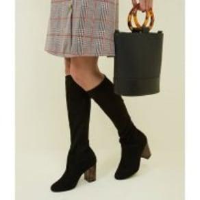 Wide Fit Black Contrast Heel Knee High Boots New Look