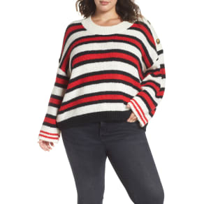 Plus Size Women's Bp. Button Shoulder Stripe Sweater, Size 4X - Ivory