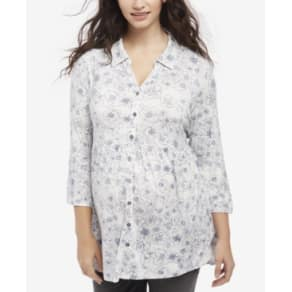 Motherhood Maternity Floral-Print Button-Front Blouse