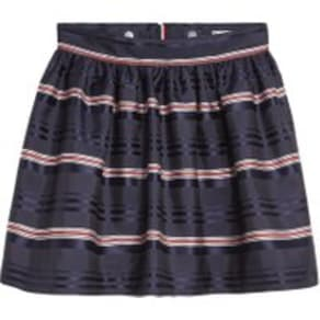 Girls Tommy Hilfiger Blue Satin Stripe Skirt -  Blue