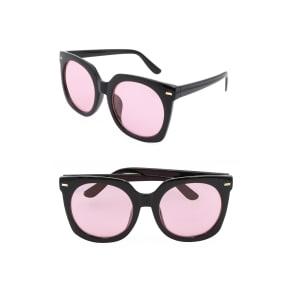 Women's Nem Melrose 55Mm Square Sunglasses - Black W Pink Half Tint Lens