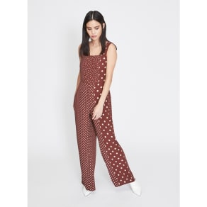 64e8e26758 Miss Selfridge - Chocolate Spotted Pinafore Jumpsuit