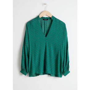 Billowy V-Neck Blouse - Green