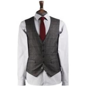 Mens Bold Grey and Blue Check Waistcoat, Grey
