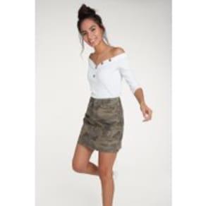 Womens F&F Khaki Camo Denim Skirt -  Green