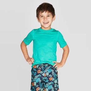 Toddler Boys' Short Sleeve Rash Guard - Turquoise 2T, Blue