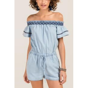Leela Embroidered Ruffle Sleeve Romper - Light Blue