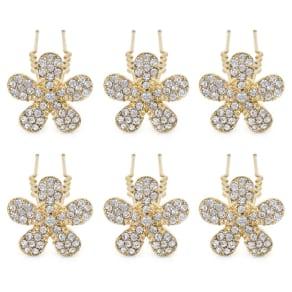 Mood Gold Crystal Flower Hair Pin Set
