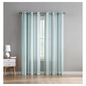 "Windsor Stripe Linen Curtain Panel Pair Aqua (Blue) (38""x96"") - Vcny Home"