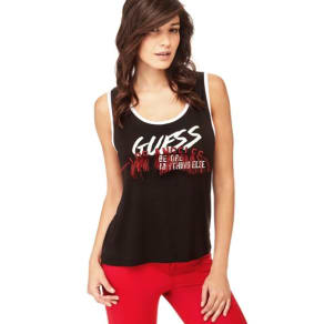 Guess Logo Tank Top With Fringes