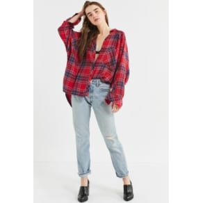 Bdg Brendan Cosy Flannel Button-Down Shirt, Red