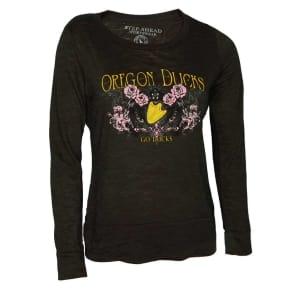 Oregon Ducks Blue 84 Ncaa Womens Jr Long Sleeve Burnout T-Shirt