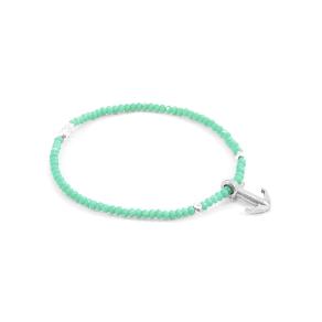 Anchor & Crew Green Amazonite Tropic Silver Bracelet, Green