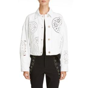 Women's Isabel Marant Broderie Anglaise Denim Jacket, Size 4 US / 36 Fr - White