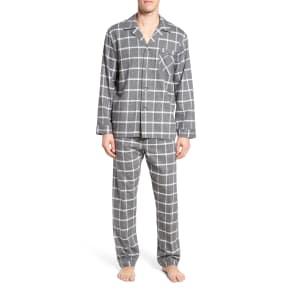 Men's Majestic International Bryson Plaid Pajama Set, Size Medium - Black