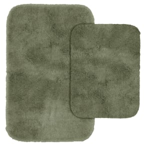 Garland 2 Piece Finest Luxury Ultra Plush Washable Nylon Bath Rug Set - Deep Fern