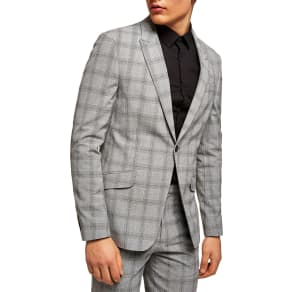 Men's Topman Check Suit Jacket, Size 34 R - Grey