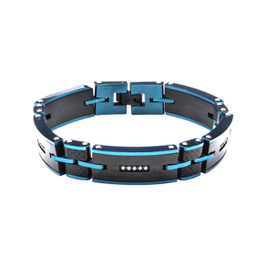 Mens Link Bracelet 8.5 With Cz Accents in Electric Blue-Tone Stainless Steel and Carbon Graphite