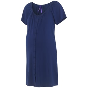 Seraphine Gemma Two-Button Maternity Nightdress, Mid Blue