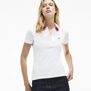 Women's Slim Fit Bicolour Collar Stretch Mini Pique Polo Shirt