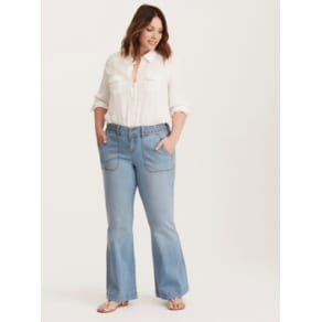 Higher-Rise Bootcut Braided Detail Flared Jeans in Paradise