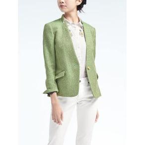 Stand Collar Tweed Blazer Women