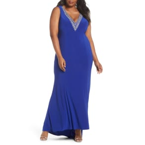 Plus Size Women's Marina Sleeveless Rhinestone Trim Gown, Size 14w - Blue