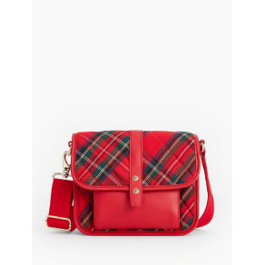 Talbots Women's Quilted Nylon Red Plaid Crossbody Bag