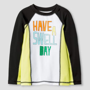 Toddler Boys' Have A Swell Day Rash Guard - Cat & Jack Black & White 2T