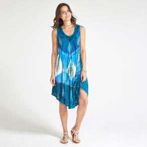 Blue Batik Diamond Print Hem Midi Dress
