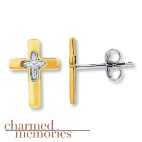 Charmed Memories Cross Earrings Sterling Silver/14K Gold Plated