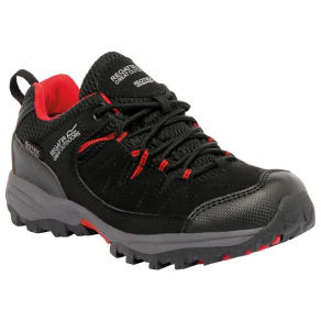 Regatta - Boys Black/ Red Holcombe Waterproof Shoe