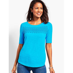Talbots Women's Charleston Lace Boatneck Tee