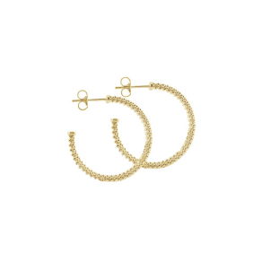 Caviar 18k Gold Hoop Earrings