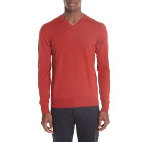Men's Emporio Armani V-Neck Wool Sweater, Size 40 US / 50 Eu R - Red