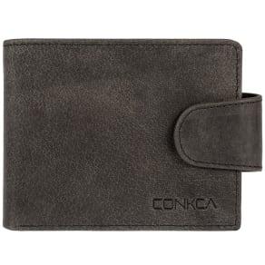 Conkca London Vintage Black 'Elgar' Handmade Leather Rfid Wallet