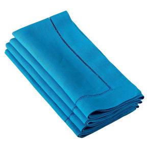 Hemstitched Dinner Napkins Azure Blue (Set of 12)