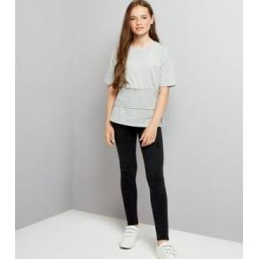 Teens Grey Shirred Waist T-Shirt New Look