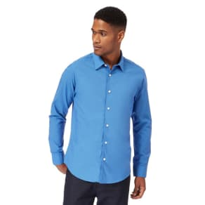 The Collection Big and Tall Mid Blue Tonic Tailored Fit Shirt