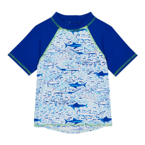 Bluezoo Boys' Blue Shark Print Rash Vest