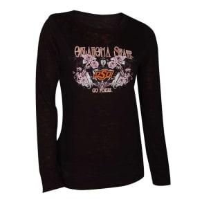 Oklahoma State Cowboys Blue 84 Ncaa Womens Jr Long Sleeve Burnout T-Shirt