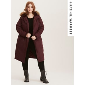 Nylon Faux Fur Trimmed Over-The-Knee Outwear Coat in Red