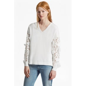 Manzoni 3d Floral Lace Sleeved Jumper - Summer White