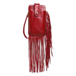 Women's Hobo Plume Fringe Calfskin Leather Smartphone Wristlet - Red